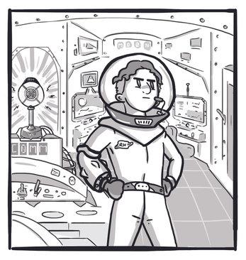 Children's book illustration of boy in spaceship