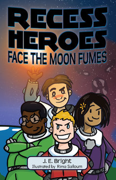 Children's book cover of four children in space