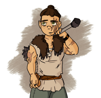 Illustration of character with mace, scars and bear pelt
