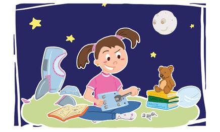 Children's book illustration of girl building spaceship