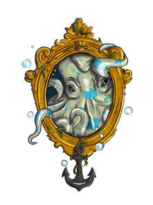 tattoo design of octopus in mirror with anchor