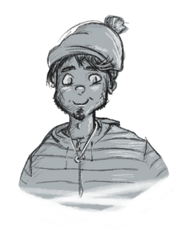 Illustration of cartoon man with hat