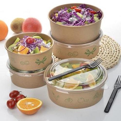 Disposable Kraft Salad Bowls with clear PET lids