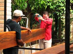 Estrutura em madeira sendo preparada