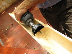 Execução das novas telhas em bambú