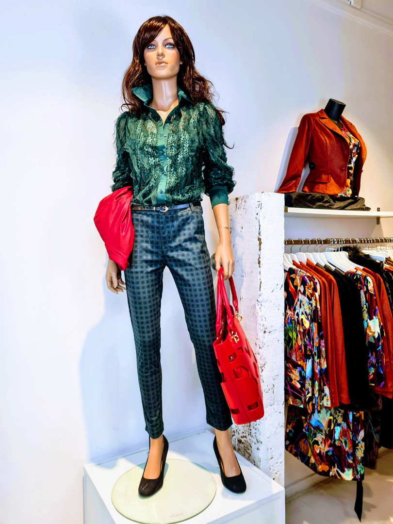top groen kant structuurstof top blouse
