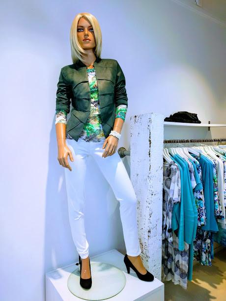 Janice jas groen heleen top print groen