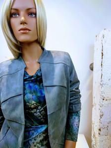 Janice jas grijs heleen top print blauw