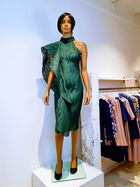 Philene jurk/galajurk, groene structuurstof