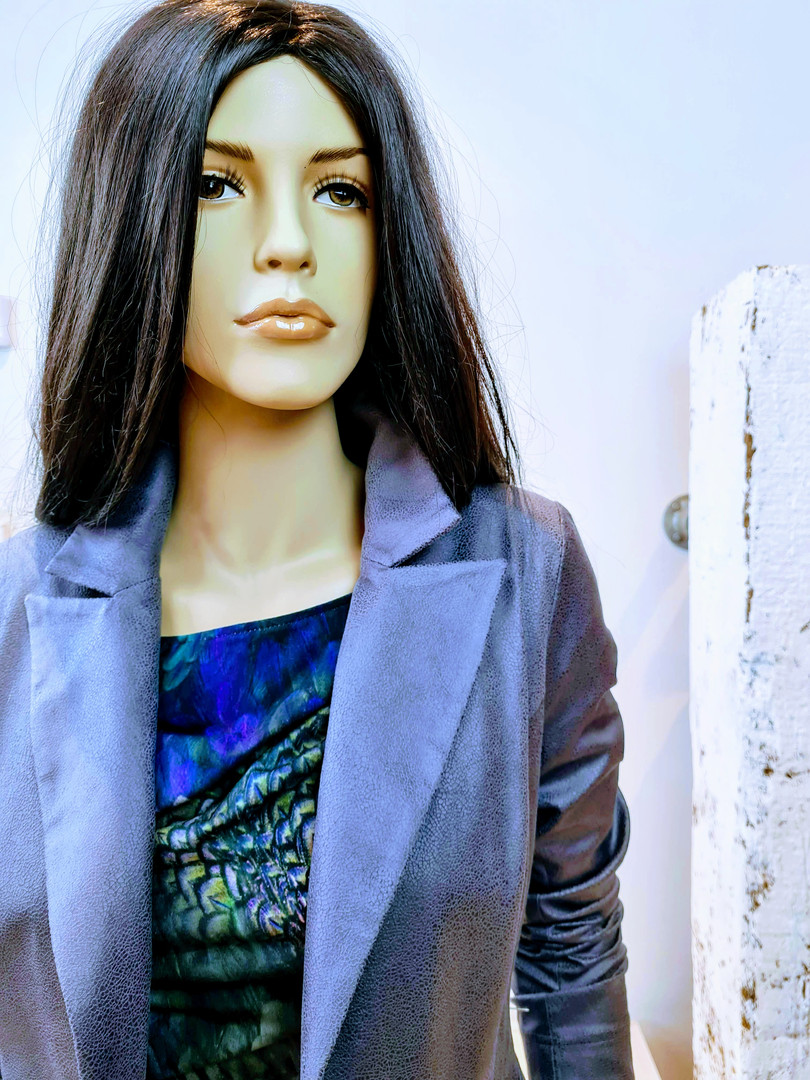 Louise jurk print blauw grijs paars glad