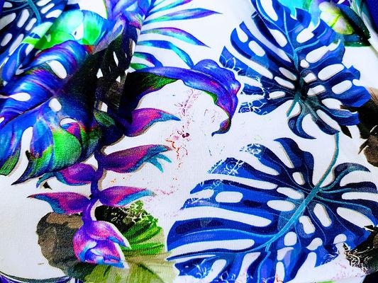 print blauw wit indigo paars vingerblad