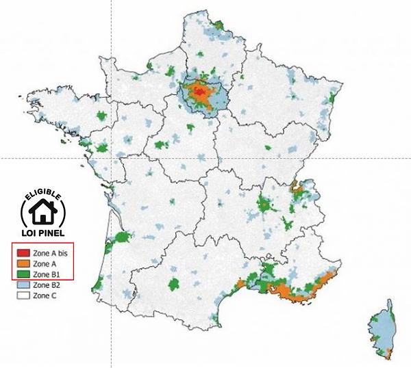 Carte des zones Abis, A et B1 Loi Pinel