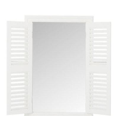 Spiegel Fenster mit Holzlamellen