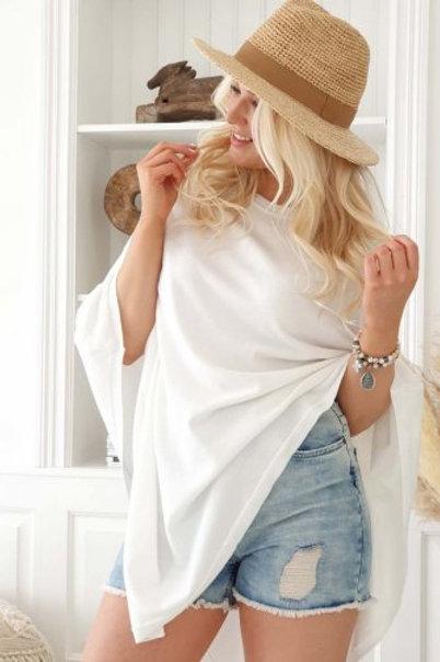 Poncho LEINEN White