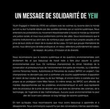 Un Message de Solidarité de YEW para BLM