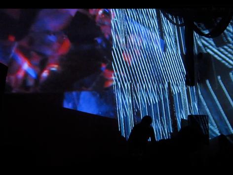 Drums and Drones with Jon Catler and Shelley Burgon in light environement by Ursula Scherrer and Erik Zajaceskowski, La Sala, Brooklyn, 2013