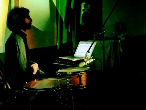 Drums and Drones in light environement by Ursula Scherrer, La Sala, Brooklyn, c. 2011