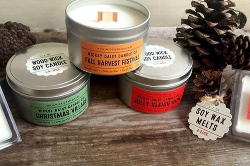 "5.3 oz. Travel Tin Seasonal 3 Pack ""Wood Wick"" Candles"