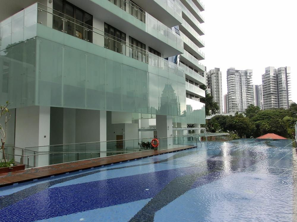 a swimming pool at a condominium