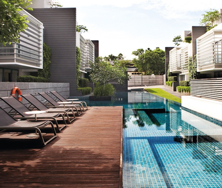 a strata landed housing with a nice swimming pool