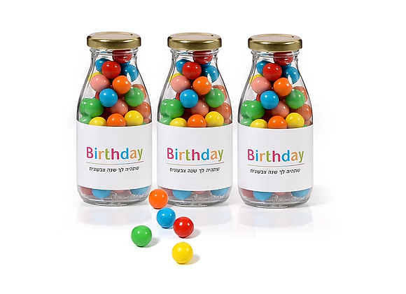 """""""יום הולדת שמח"""" - בקבוק זכוכית מעוצב   nona"""