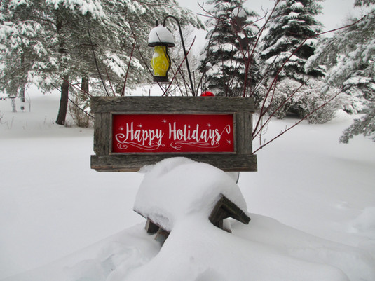 Happy Holidays white on red