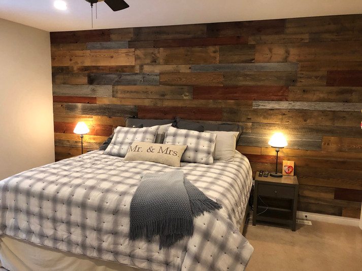 Master bedroom accent wall