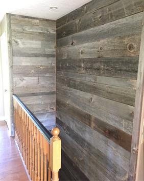 Stairwell barn board wall