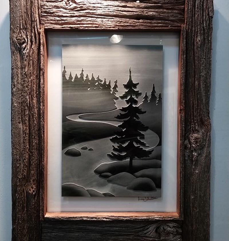 Etched glass framed
