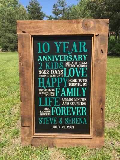 Custom anniversary sign