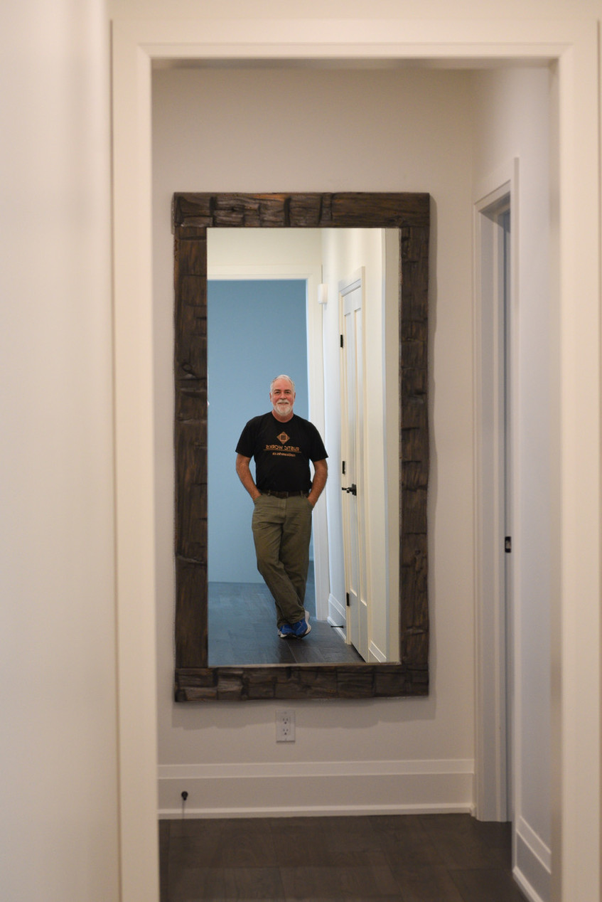 brown stained beam mirror