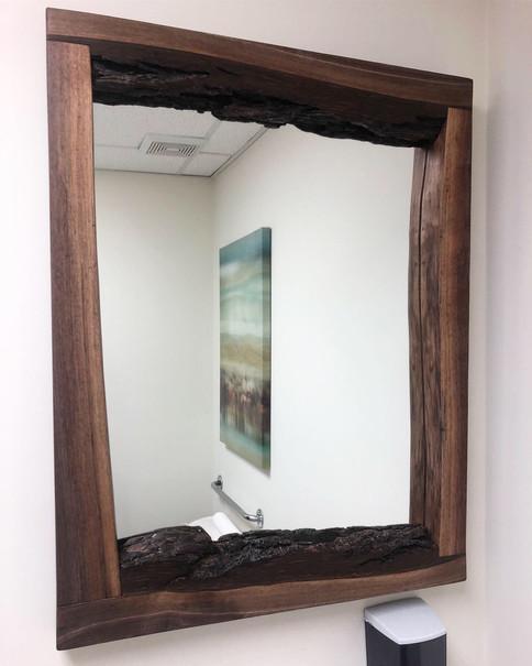 Commercial bathroom hardwood mirror