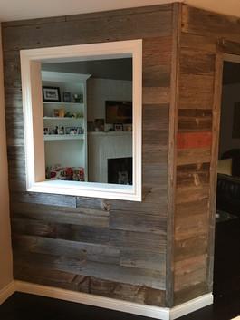 Frame work and barn board wall