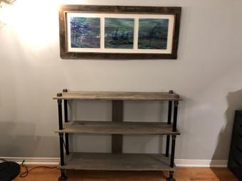 Barn board shelf table