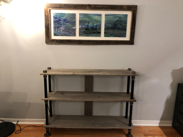 Barn board shelf table