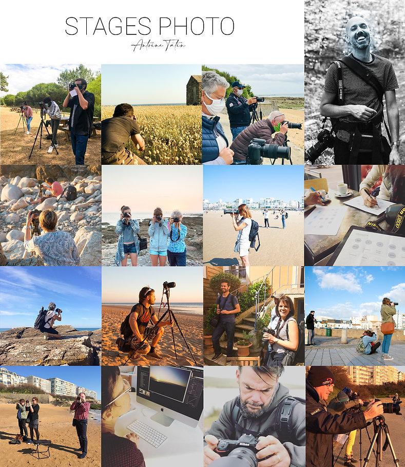 Mosaique d'images montrant des stagiaires en situation de stage photo sur le littoral des Sables d'Olonne.
