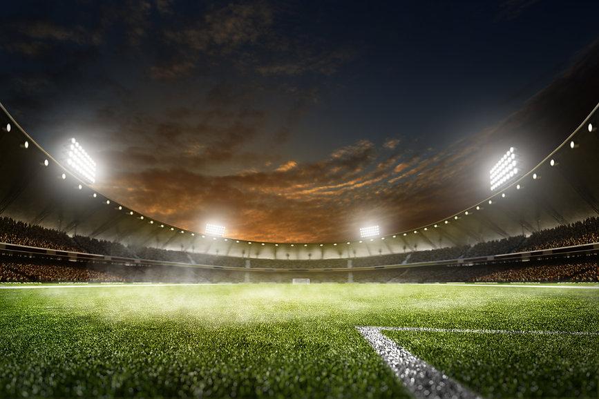 Empty night grand soccer arena in the li