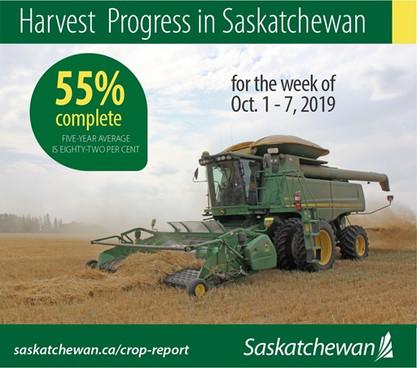 Saskatchewan Crop Report For October 1 To 7, 2019