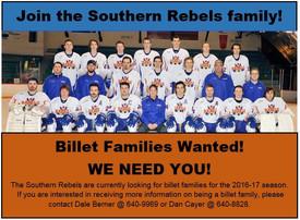 Southern Rebels Need Billets!!