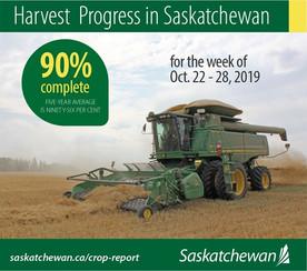 Saskatchewan Harvest is now 90% Complete