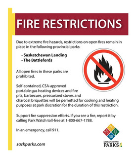 Fire Restrictions in place for Sask Provincial Parks