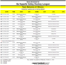 Broncs Jr. Hockey 2016-2017 QVJHL Regular Season Schedule has been released