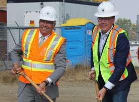 Sod turning ceremony in Moose Jaw for new pump house project on Grafton Avenue.