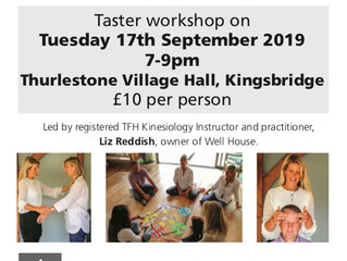 With less than one week to go...grab this opportunity to come along to my TFH Kinesiology taster wor