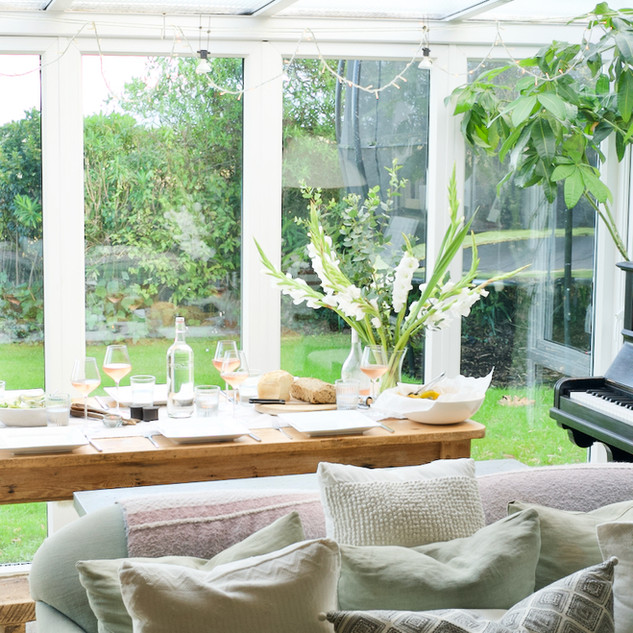 Dining area overlooking garden