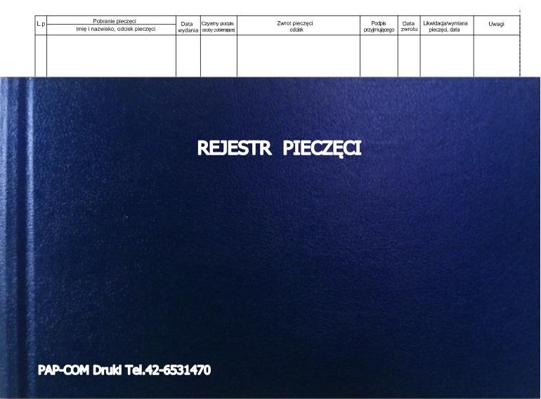 Rejestr pieczęci A4