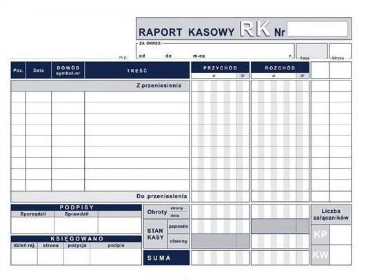 Raport  kasowy A5