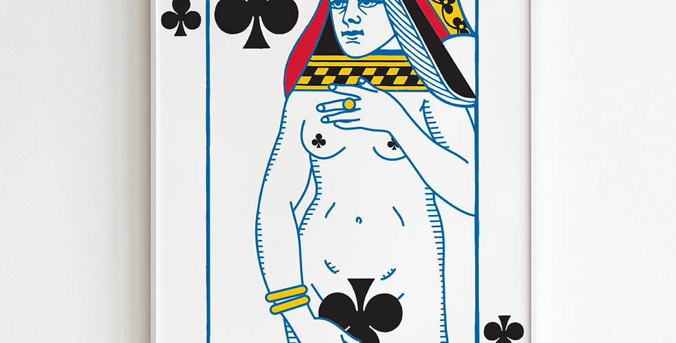 The Undressed Deck Queen of clubs poster