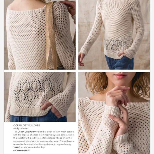 Magazine layout showing a woman modelling a cream raglan pullover with allover mesh, long sleeves, and a sand dollar lace motif across the hips