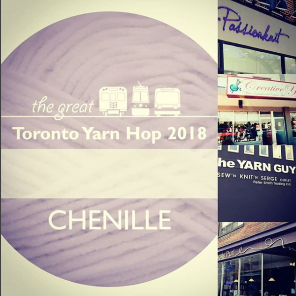 Local Yarn Shop storefronts and the Great Toronto Yarn Hop 2018 logo